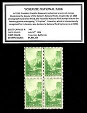 1934 - YOSEMITE NATIONAL PARK - Vintage Mint -MNH- Block of Four Postage Stamps