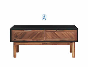 Wooden Coffee Table Console Table with Drawers Gold Handles