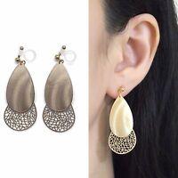 Dangle Filigree Invisible Clip On Earrings Gold Teardrop Lace Clip Earrings