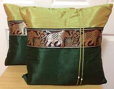 "New 2x Green Square Decorative Pillow Cushion Cover From India 15 1/2""x 16"""