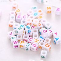 7454 100pcs Words Square DIY Kids Craft Set Colorful Beads Strawberry Bracelet