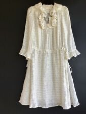 NWT Tory Burch Ivory Metallic Gold Jasmine Silk Blend Ruffle Dress Sz 2 $495