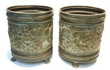 Pair of antique tripod brass messing planter pot de fleur blumentopf bloempot