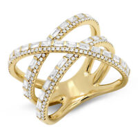 Baguette Diamond X Ring 14k Yellow Gold Crossover Wide Cocktail Band 1.08ct