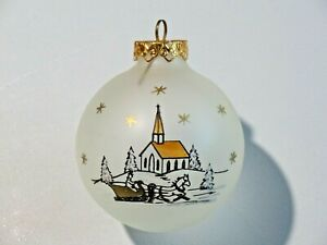 Hand Painted Frosted Glass Bulb Bronner's Austria Snow Church Sleigh