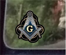"ProSticker 095 (One) 5"" Masonic Freemason Compass Square Decal Sticker Lodge"
