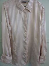 Spring & Summertime! Goldtone Tan Women's 18/20W Satiny Stripe L.S.Blouse - New