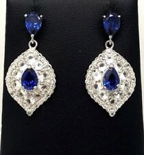 Sterling Silver Pear Blue Tanzanite - CZ Cluster Marquise Dangle Post Earrings