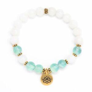 Fashion Moonstone Beads aquamarine Handmade gold Bracelet Prayer Lucky Cuff