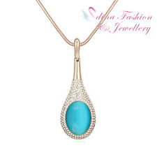 18K Gold Plated Simulated Opal & Diamond Ocean Blue Lute Shaped Long Necklace