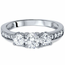 Real Solid 14k White Gold 2.25 CT Round Cut 3 Stone  Engagement Wedding Ring