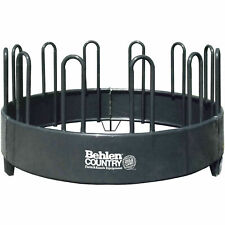 """Open Top Bale Horse Feeder With Vertical Partitions, 96""""L x 96""""W x 49""""H, Gray,"""