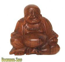 GLÜCKSBUDDHA Holzbuddha dicker Buddha Holz Deko Buddhafigur Buddhaskulptur Holz