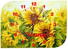 horloge pendule murale tournesol personnalisé prénom au choix réf 57
