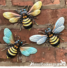 More details for 3 x 18cm metal bees colourful garden decoration novelty wall art bee lover gift