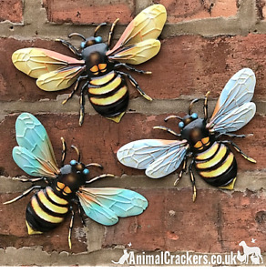 3 x 18cm Metal Bees Colourful garden decoration novelty wall art Bee lover gift