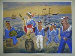 Tanzende Matrosin Matrosen Musik Hafen - signiert D. Dix Aquarell Gouache 20.Jh.