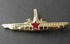 RUSSIAN CCCP RUSSIA SOVIET SUBMARINE SUB LAPEL PIN BADGE 2.5 X 7/8 INCHES
