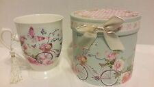 NEW ~ DELTON PORCELAIN COLLECTIBLE TEA CUP GIFT BOX FLORAL CYCLE BUTTERFLIES