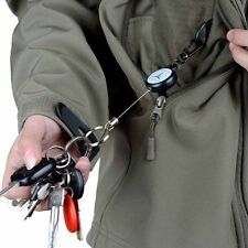 60cm Recoil Metal Wire Retractable Ring Clip Key Chain Gift Extendable Heavy New