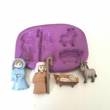 CHRISTMAS NATIVITY Silicone Mould Mary Joseph Baby Jesus Cake Decorate Fondant