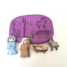 CHRISTMAS NATIVITY Silicone Mould Mary Joseph Baby Jesus Cake Decorate Fondant