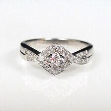 10K White Gold .25cttw Diamond Ring Size 7 Beautiful Twisty Design With Diamond