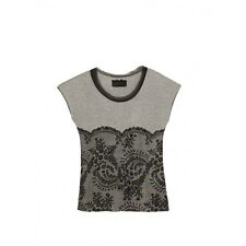 FIX DESIGN T-SHIRT DONNA/WOMEN STAMPA EFFETTO PIZZO/STRASS  TG.L - 25%