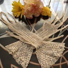Spectacular Antique 1800's Victorian Bridal Ivory Fishnet Crochet Gloves