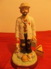 "Emmett Kelly Jr ""The Veterinarian"" Figurine by Flambro w Wood Stand Hand Signed"