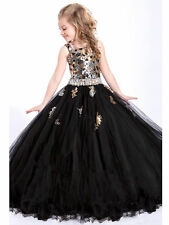 Flower Girl Dresse Princesses Wedding Bridal Prom Ball Pageant Party black 2-14