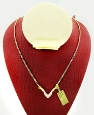 GENUINE 0.27 Cts DIAMONDS NECKLACE 10K TWO-TONES GOLD  *FREE SHIPPING *