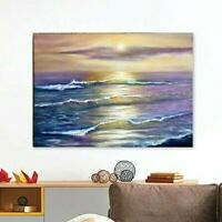 oil painting on canvas Seascape Colorful Sun Waves Sunset nautical wall art gift