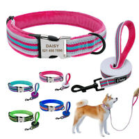 Personalized Dog Collar Engraved ID Name Buckle Reflective Matching Leash Custom
