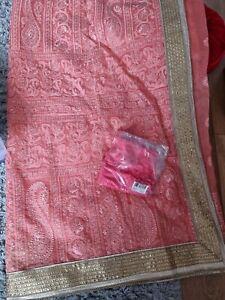 New Peach Saree Net/sari Lengha Lenga