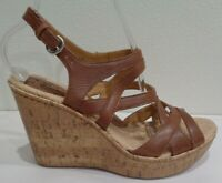 Born Size 10 M BRYGIDA Light Brown Leather Wedge Heel Sandals New Womens Shoes