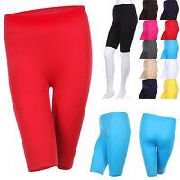 Seamless Solid Plain Above Knee Athletic Bermuda Layering Athlete Short Leggings