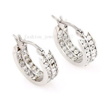 2Pcs Exquisite 2Row CZ Inlay Stainless Steel Silver Hoop Stud Huggies Earrings A