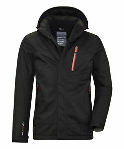 killtec Mens Xenios Functional Jacket with Zip-Off Hood Medium Black