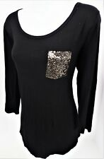 Medium Sequin Bling Pocket Stretch 3/4 Sleeve Black T Tee Shirt Long Tail New