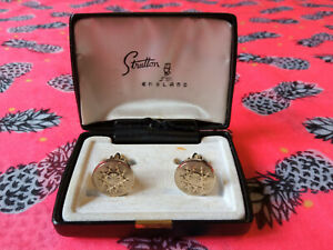 Vintage Stratton England Cufflinks, Star Pattern, in Original Box
