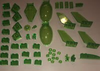 LEGO Lot Of 50 Translucent Neon Green Parts / Bricks / Windscreens