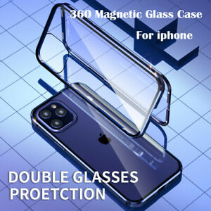 For iPhone 7 8 Plus 11 12 Pro XS Max Case 360 °Front & Back Magnetic Glass Cover
