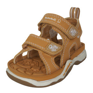 Timberland Sandals 2 Strap Toddler's Shoes Slide Wheat White Leather 30870 New