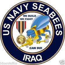 US NAVY SEABEES IRAQ VETERAN BUMPER STICKER LAPTOP STICKER ROUND TOOLBOX STICKER