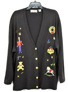 Westbound Christmas Women Black Button Front Golden Button Patchwork Cardigan 1X