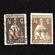 1912 Azores Postage Stamps, Used, Lot of 2