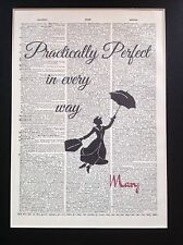 Mary Poppins Practically Perfect Gift Idea A4 Size Antique Dictionary Page Art