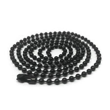 Mens 20 Inch Black Stainless Steel Bead Ball Necklace Chain 2.4mm