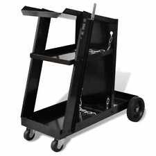 vidaXL Welding Cart Black Trolley with 3 Shelves Workshop Organiser Dollies